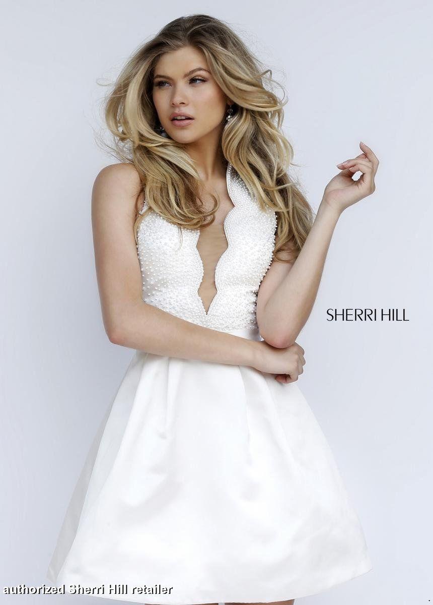 Party / Shower / Rehearsal Dress: Sherri Hill 32310 Plunging V Short Prom  Dress
