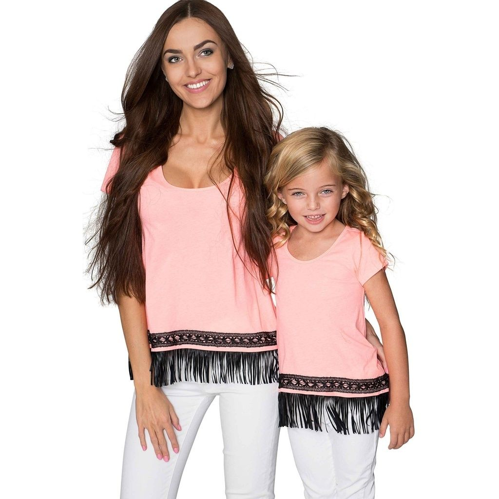 4b79520f750 Boho High-Low Fringe Trim Casual T-Shirt Mother Daughter Matching Top  #sales #amazon #family #gotyoucovered #disney