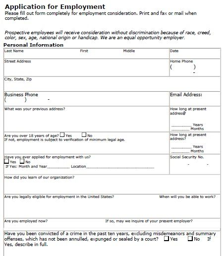 Job Application Form - Download a free employment application form - sample employment application form