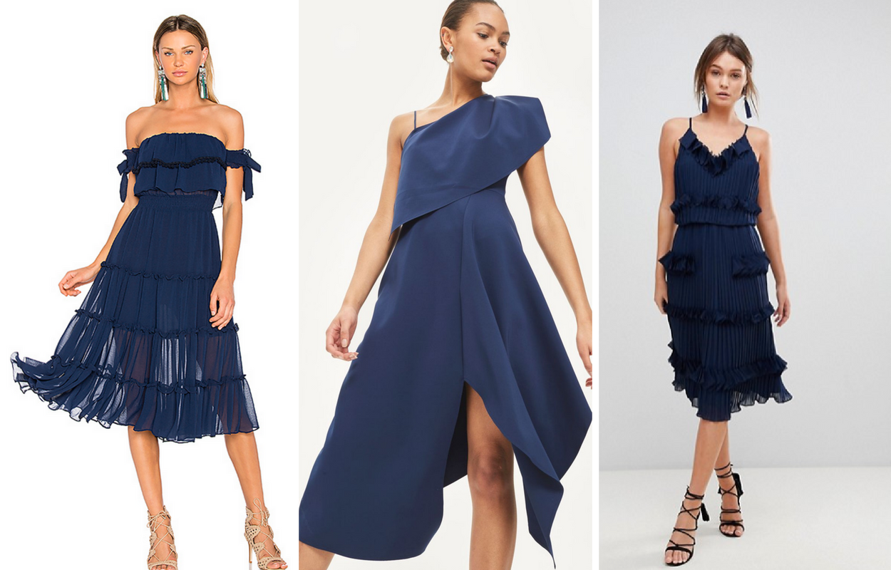 Wedding Guest Outfits Wedding Fashion Occasion Wear Navy Dress Ruffled Dress Wedding Guest Outfit Fall Wedding Guest Outfit Spring Wedding Guest [ 800 x 1250 Pixel ]