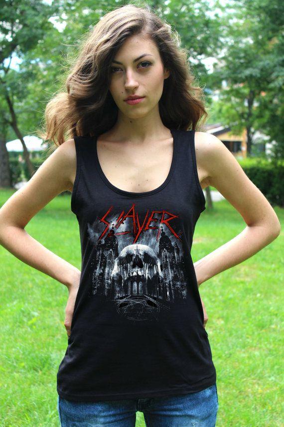 74a3753555c884 Slayer Tank Top Band Slayer Tee Rock Sleeveless Shirt Thrash Heavy Metal  Women Tshirt Lady Tank Tops Lady Fit Vest Crop Top T Shirt