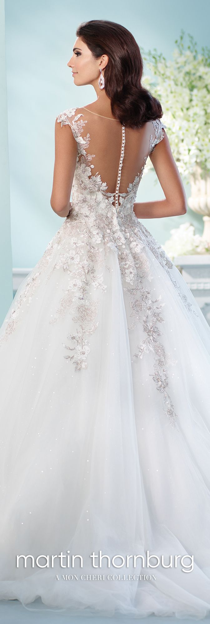Sequin tulle embroidered lace ball gown wedding dress jay