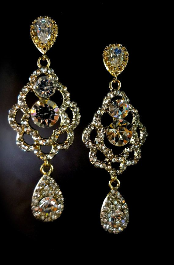 Gold Chandelier earrings Bridal jewelry by QueenMeJewelryLLC ...