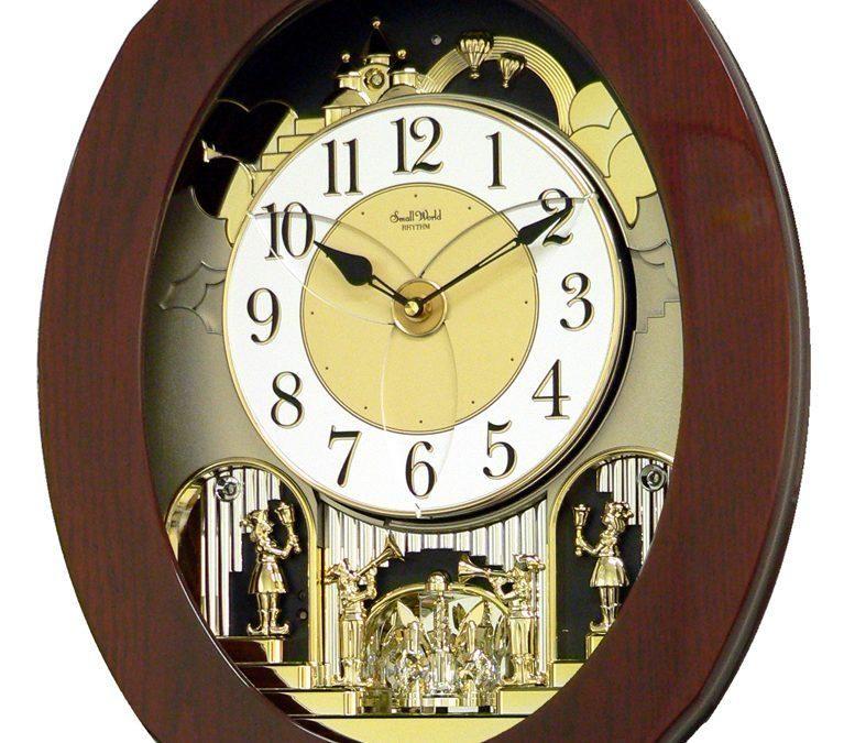 Rhythm Magic Motion Grand Nostalgia Entertainer Wall Clock In 2020 Rhythm Clocks Clock Wall Clock Wooden