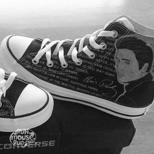 Custom Painted Elvis Presley The King inspired Converse Hi