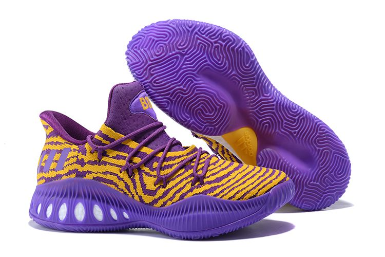 "95785adaf146 2018 adidas Crazy Explosive Low ""Lakers"" PE Purple Yellow Basketball Shoes  For Sale"