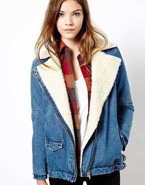 Image 1 of Pull&Bear Denim Jacket With Sheepskin Lining | Look ...