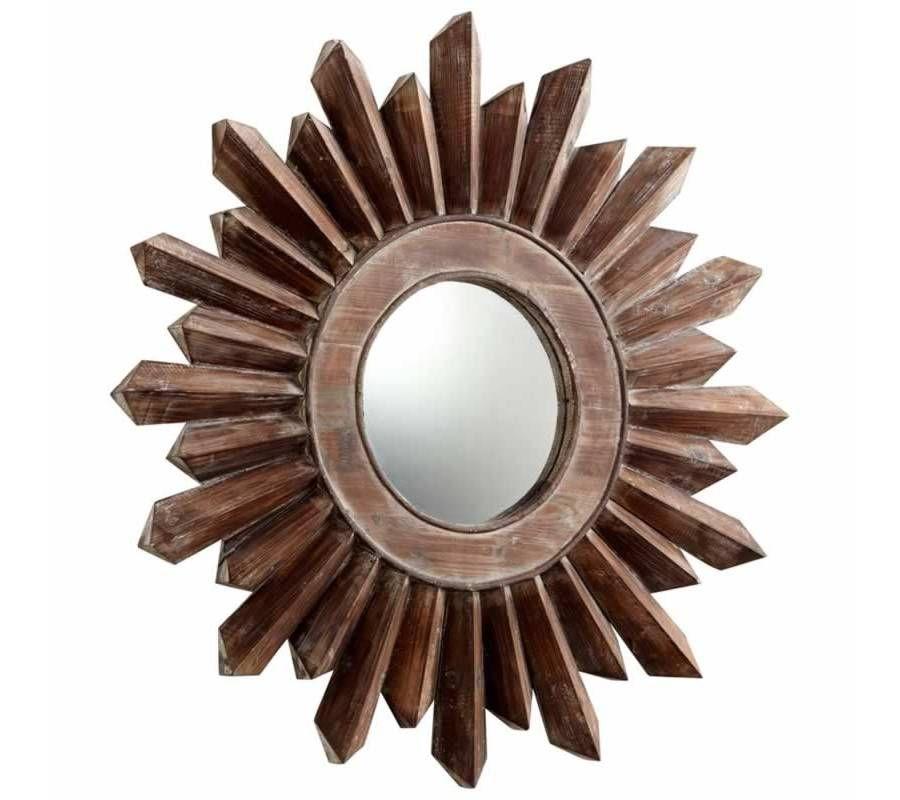 Large Hard Edged Wooden Sunburst Wall Mirror Zerkalo Ramki Ukrasheniya