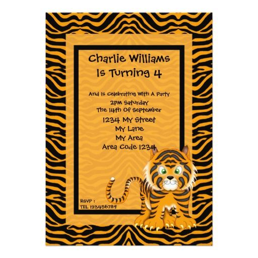 Tiger Birthday Party Invitation Pinterest Tigers Birthdays And