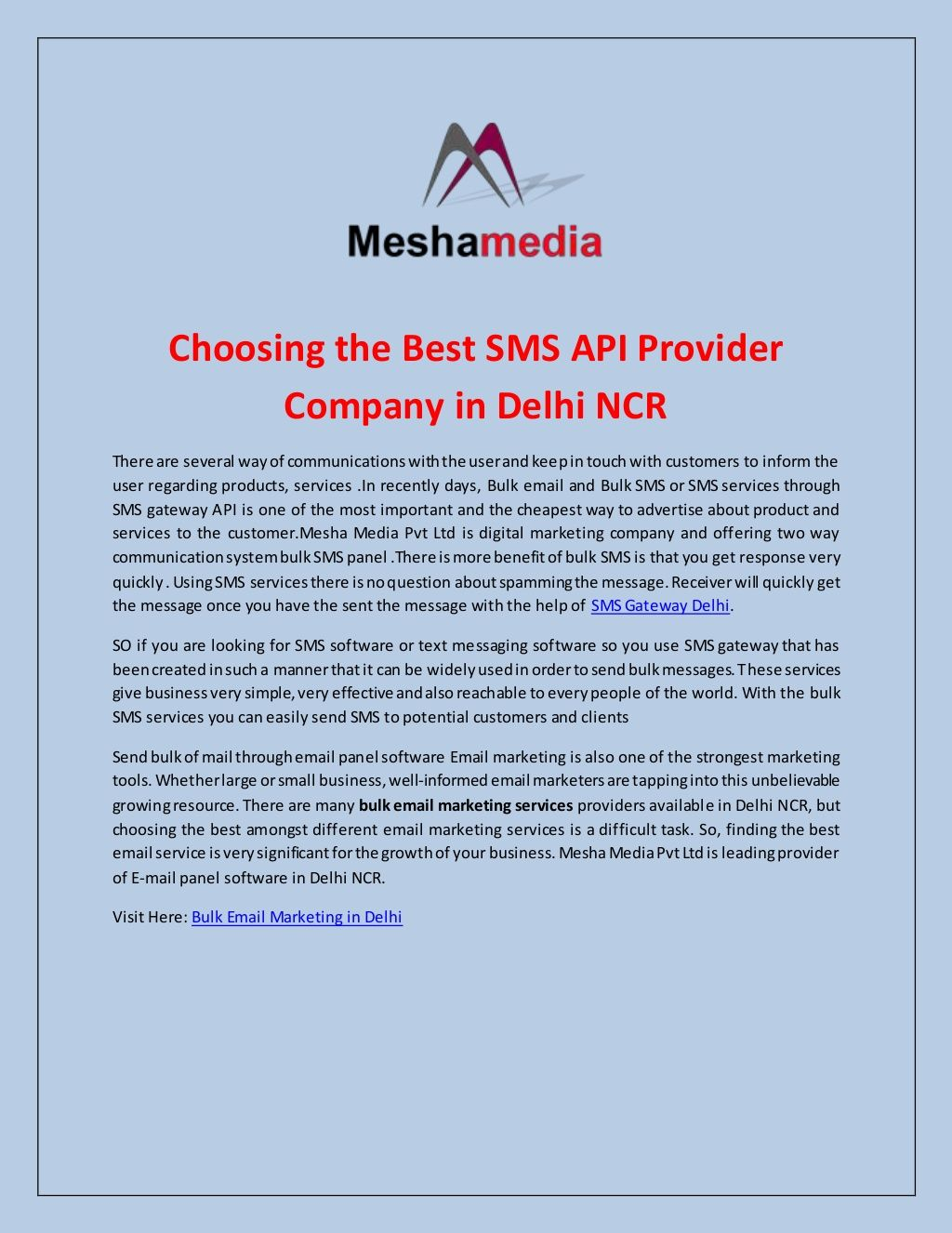 Choosing the Best SMS API Provider Company in Delhi NCR by