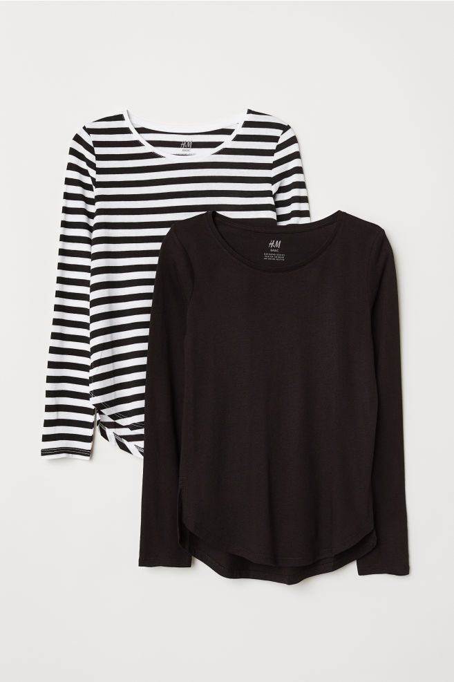 53ddda9251 2-pack Tops | so fly | Black white stripes, Striped long sleeve ...