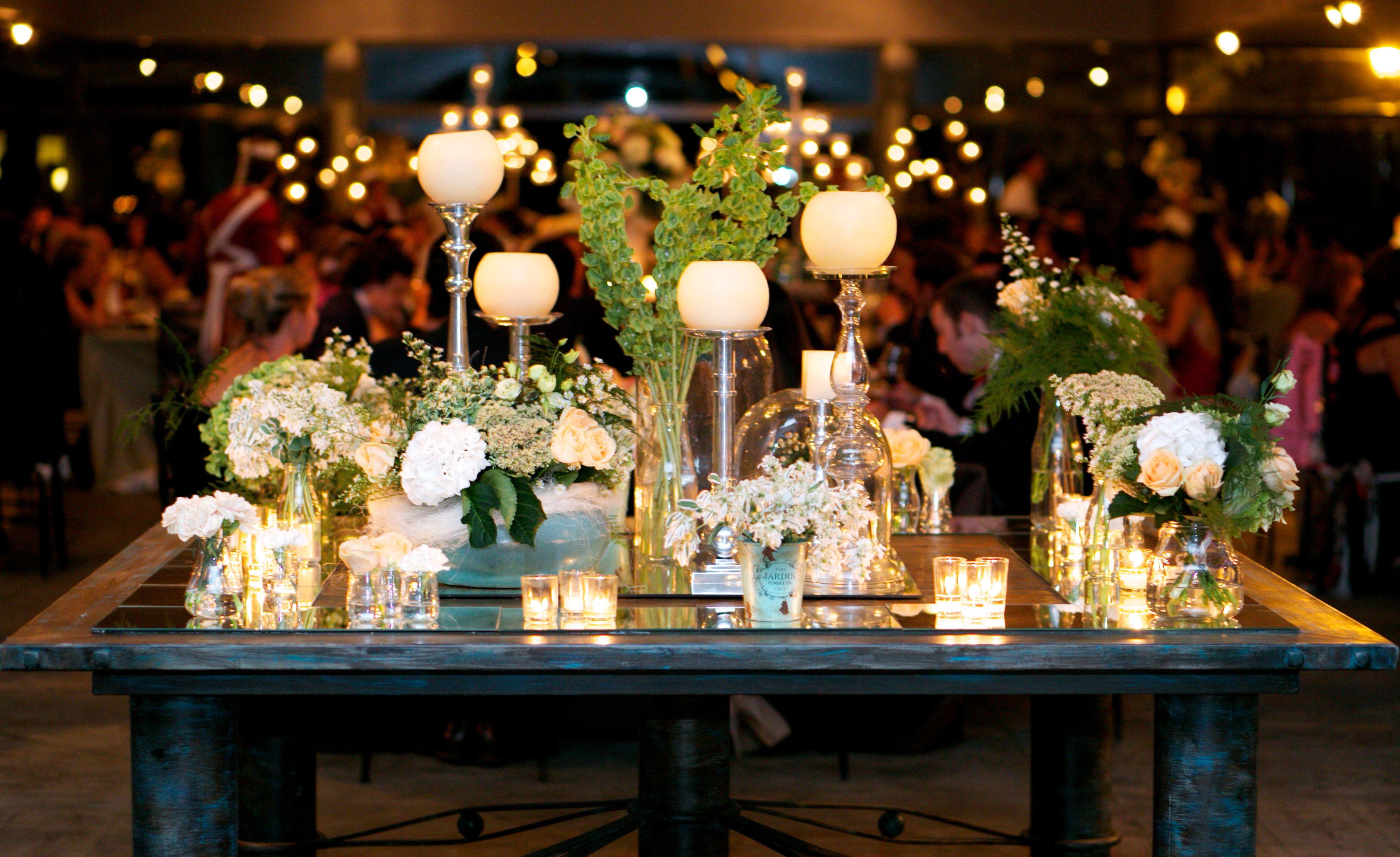 Arreglo floral de la mesa hall base de espejos con - Base de vela ...