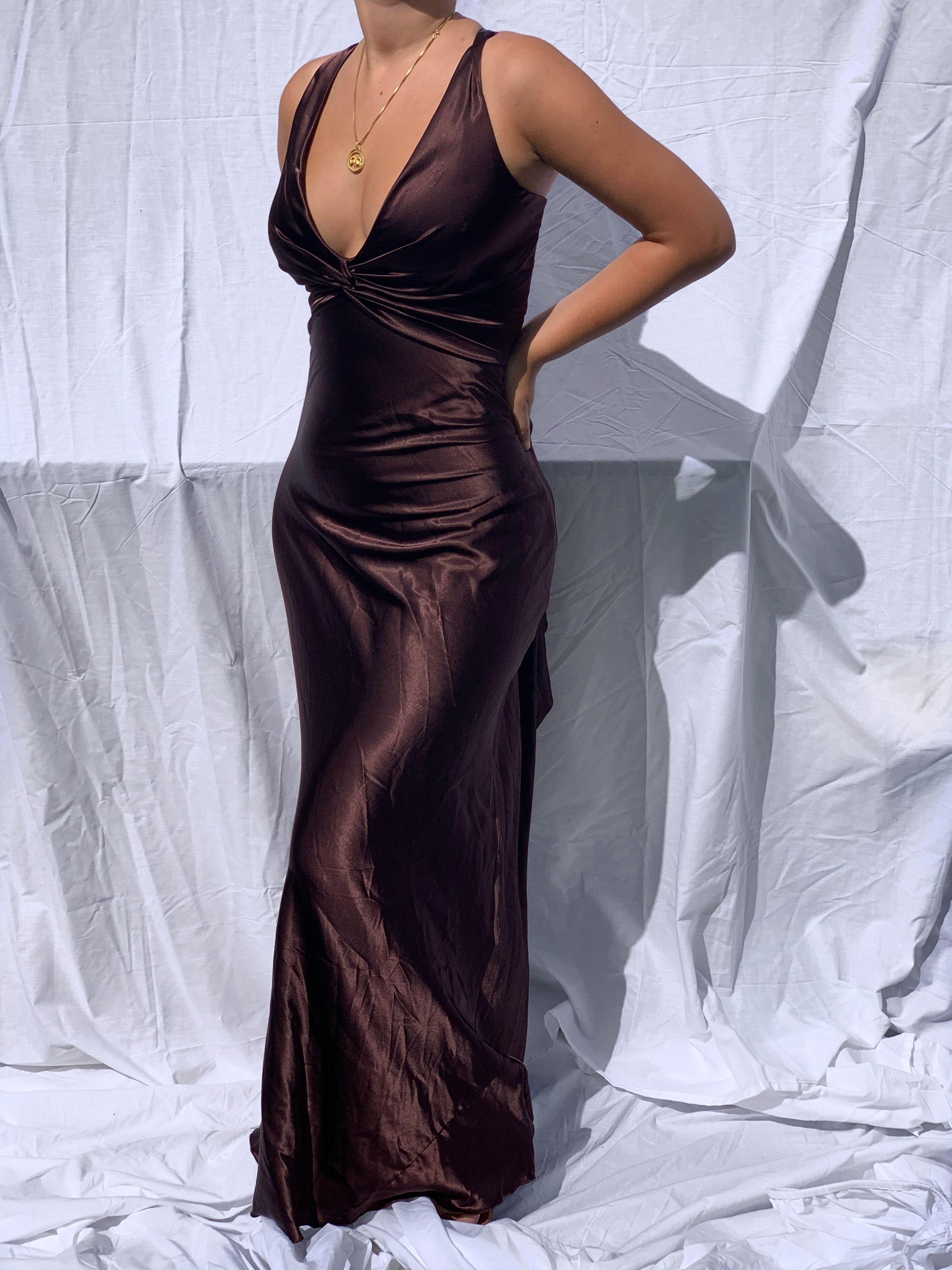 Vintage Formal Dress Silk Dress 90s Prom Prom Dresses Y2k Formal Buffyvintage Brown Silk Prom Dresses Vintage Ball Dresses 90s Prom Dresses [ 4032 x 3024 Pixel ]