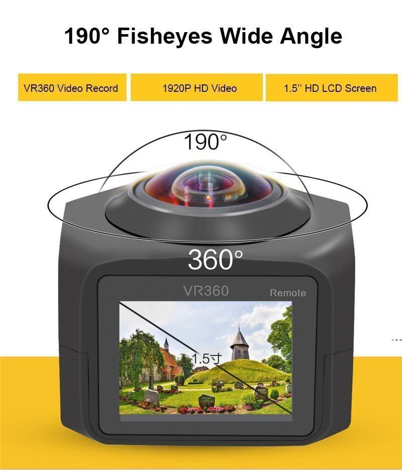 Mini VR 360 4K HD 12MP Fisheye Go Pro Action Video Camera with Accessories