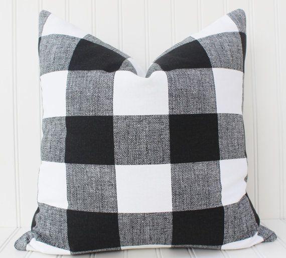 Black And White Buffalo Check Pillow Cover Throw Pillow Decorative
