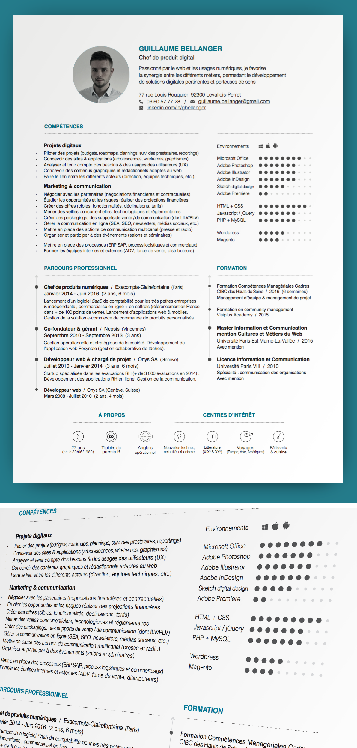 curriculum vitae cv resume    guillaume bellanger    chef de