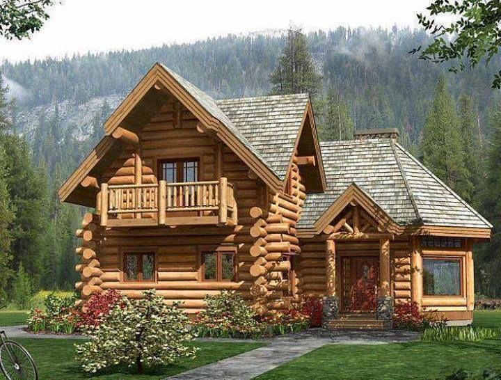 Beautiful Log Cabin Home I Love The Rounded End To The Right Log Home Designs Log Homes Cabin Design