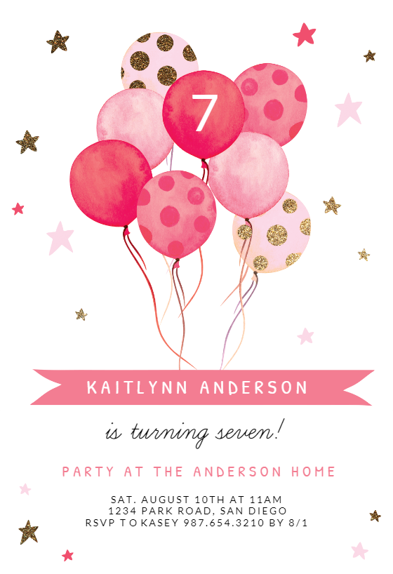 Watercolor Balloons Birthday Invitation Template Greetings Island Birthday Invitation Templates Birthday Invitations Kids Printable Birthday Invitations