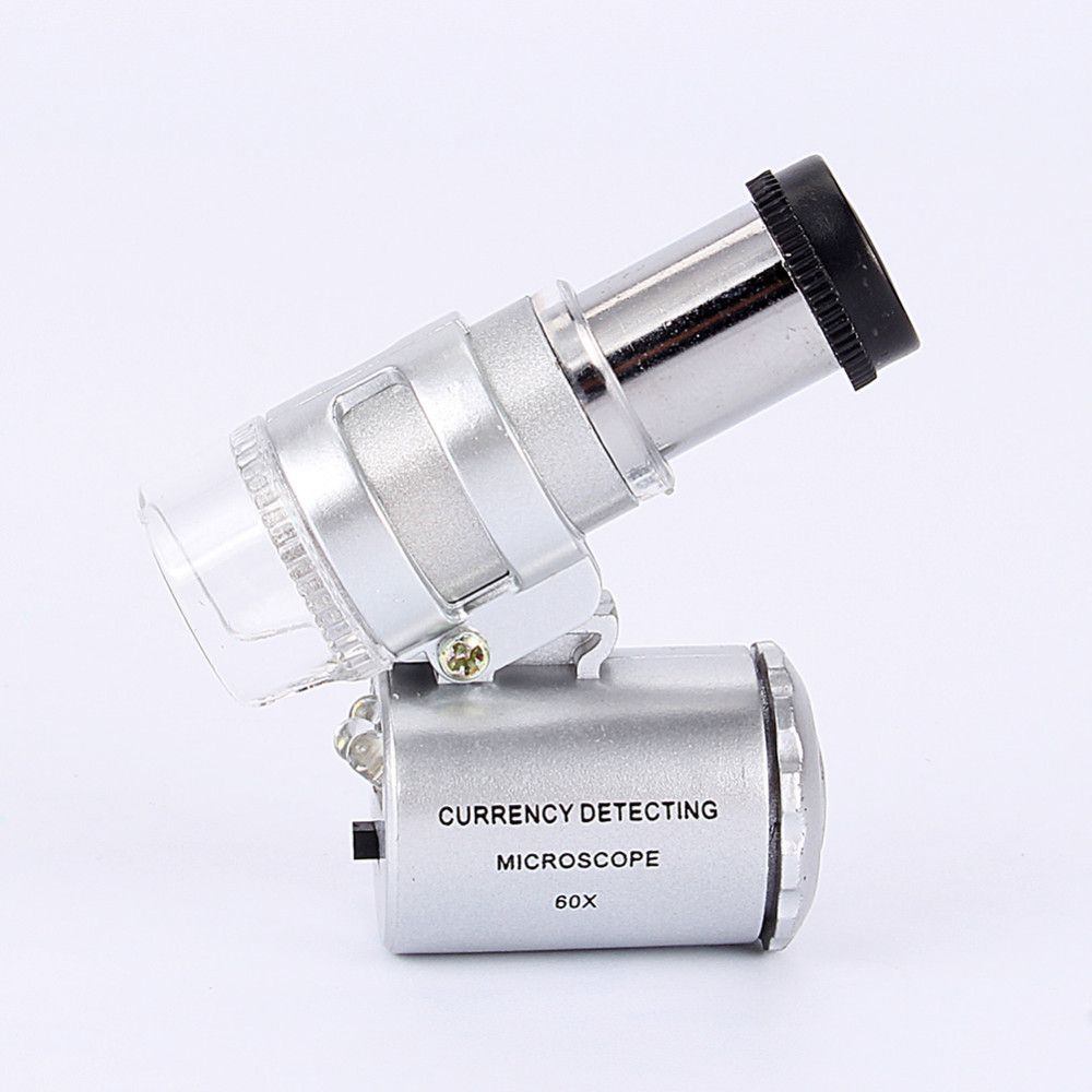 60X Pocket Microscope Magnifier Glass Jeweler Loupe Magnifying with LED UV Light