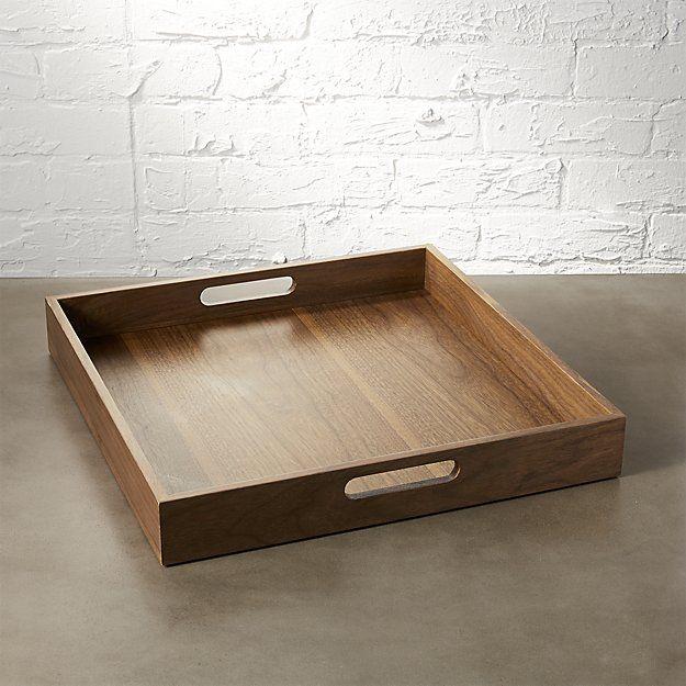 Ottoman Coffee Table Cb2: CB2 Square Walnut Tray