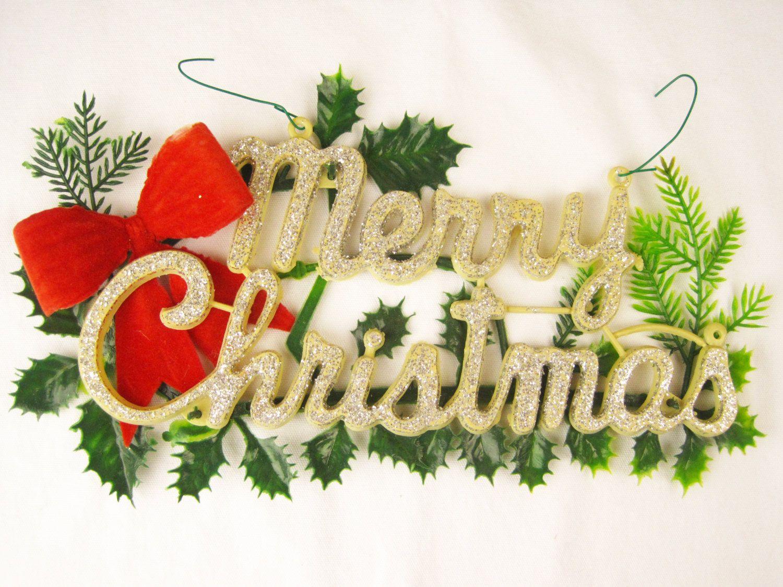 Vintage Merry Christmas Plastic Sign Kitschy Door Hanger 1960s Wall Ornament Dec Merry Christmas Vintage Beautiful Christmas Decorations Merry Christmas Sign