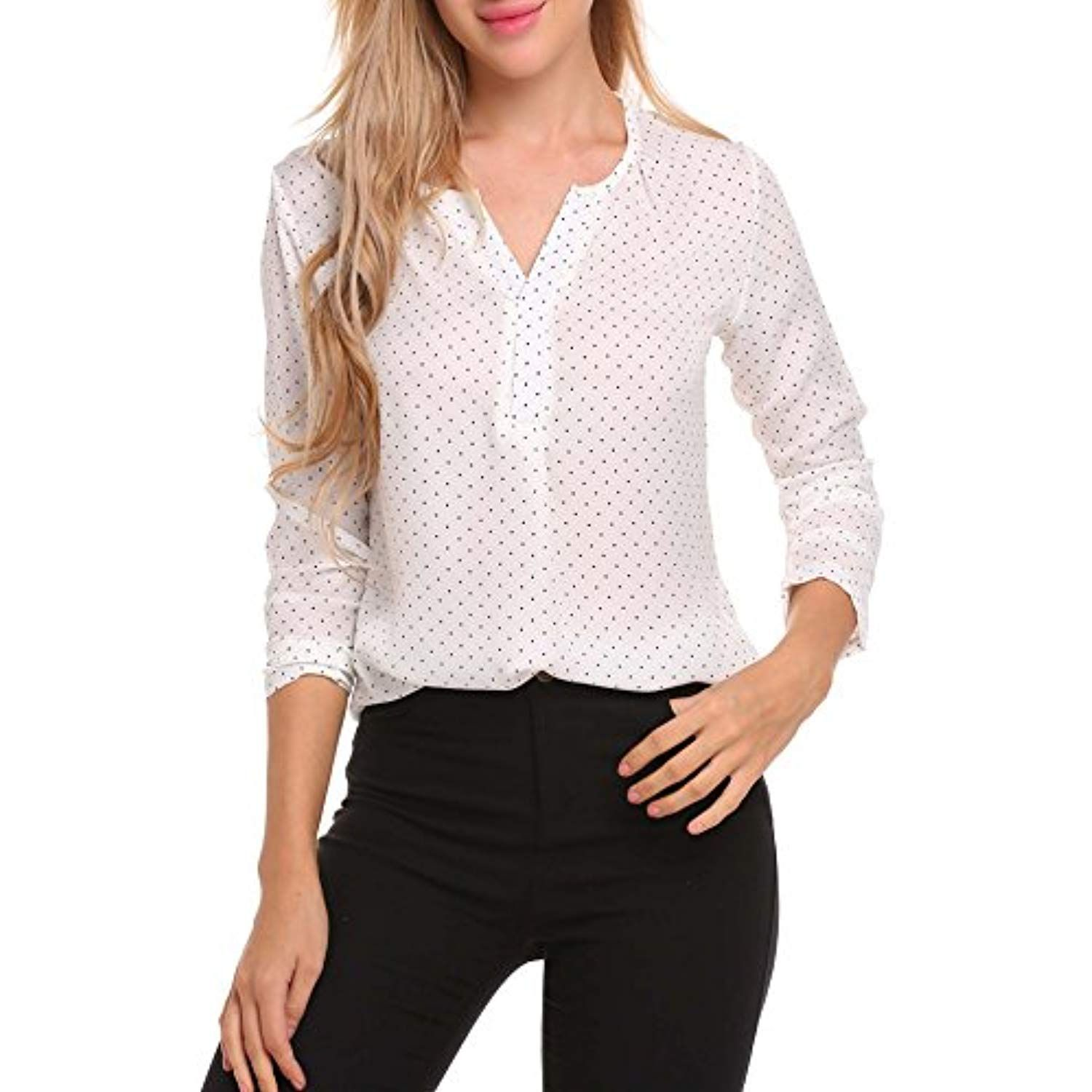 5399ea8e76 Women Casual Long Sleeve V Neck Floral Printed Loose Office Business Blouse  Top * You can find more details by visiting the image link.