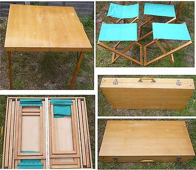 Vintage Wood Fold Up Picnic Table With 4 Chairs Packs