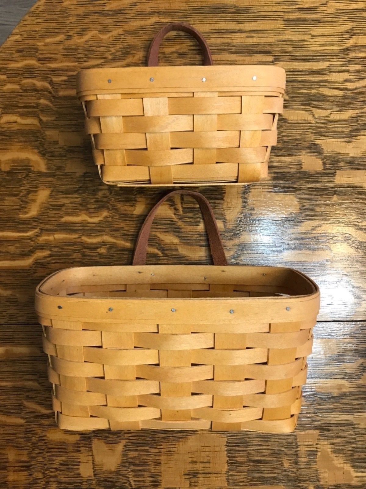 Longaberger Handwoven Wall Basket Set Made In Dresden, Oh 2002 Excl Condition