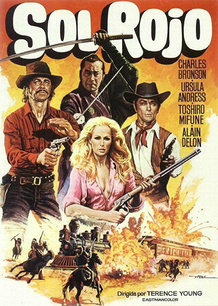 Ursula Andress Charles Bronson Alain Delon And Toshiro Mifune In Soleil Rouge 19 Mejores Carteles De Peliculas Carteles De Peliculas Famosas Poster De Cine