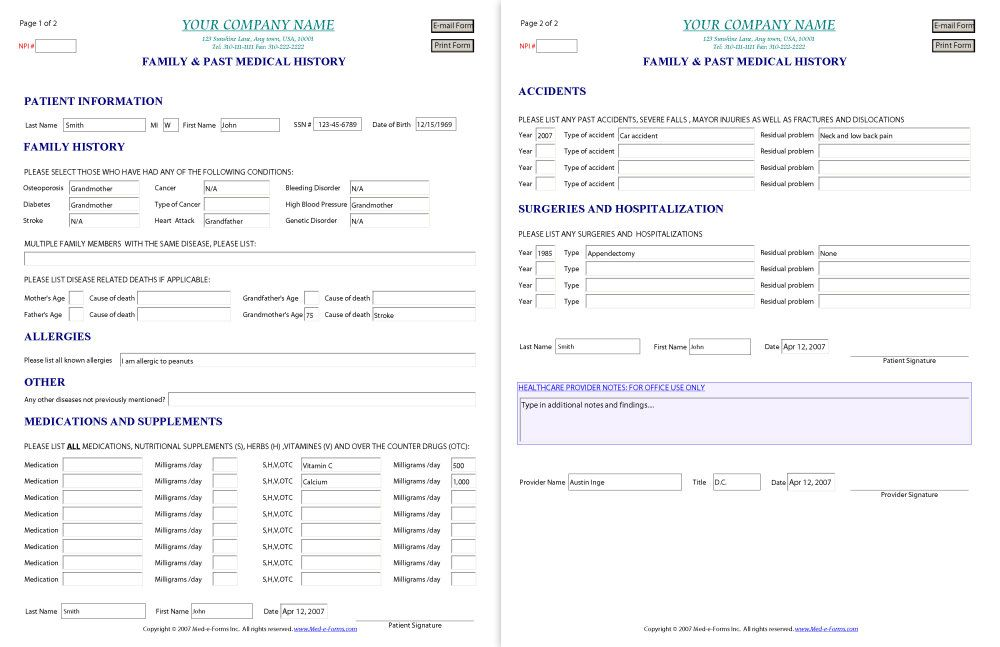 Family History  Free Printable Family Medical History Forms By