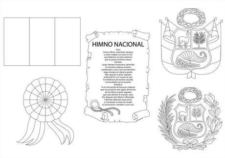 Símbolos patrios Perú para colorear | barra de papel | Pinterest