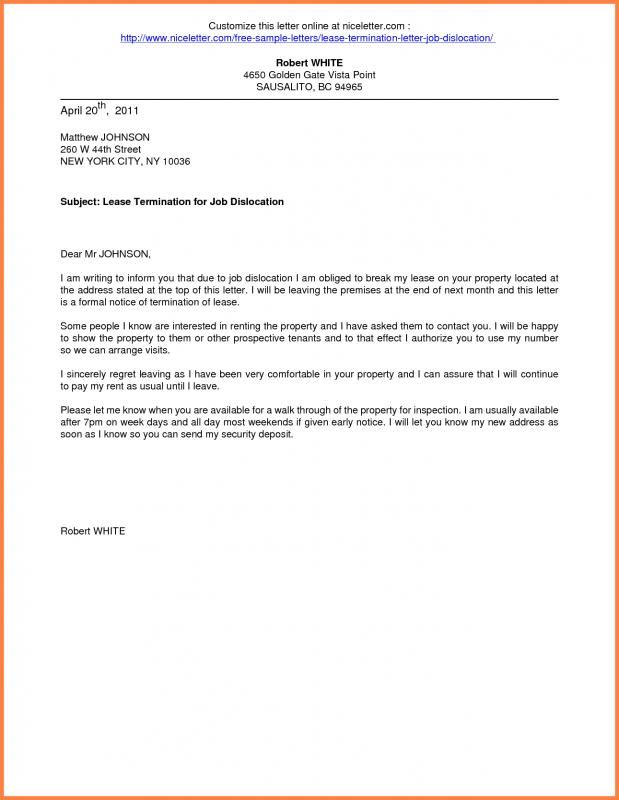 Notice Of Lease Termination Letter From Landlord To Tenant - sample termination letters
