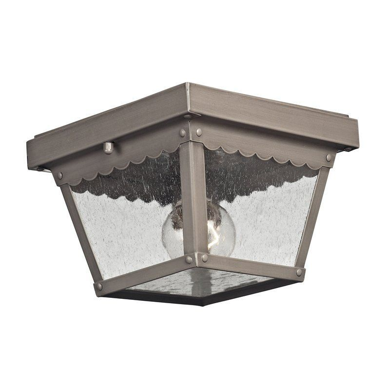 View The Cornerstone Lighting 9102EF Springfield 1 Light Outdoor Flush  Mount Ceiling Fixture With Seedy Glass