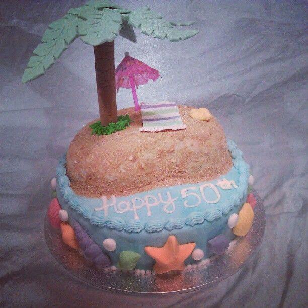 Beach themed cake I made for a work colleague for his Mum's 50th birthday :)  #cake #cakedecorating #beachcake #islandcake #fondant