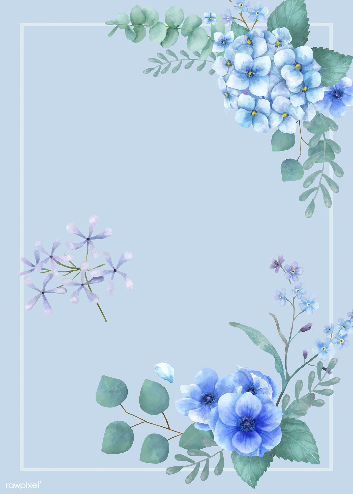 Download Premium Vector Of Blue Themed Greetings Card With Miniature Flower Background Wallpaper Blue Flower Wallpaper Flower Illustration