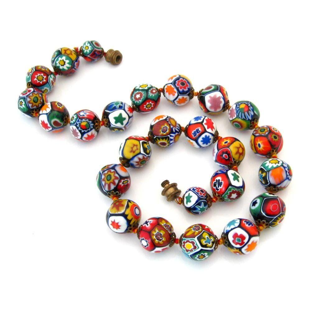 Vintage Millefiori High Quality Venetian Murano Moretti Art Glass Bead Necklace Glass Bead Necklace Murano Glass Jewelry Jewelry Crafts