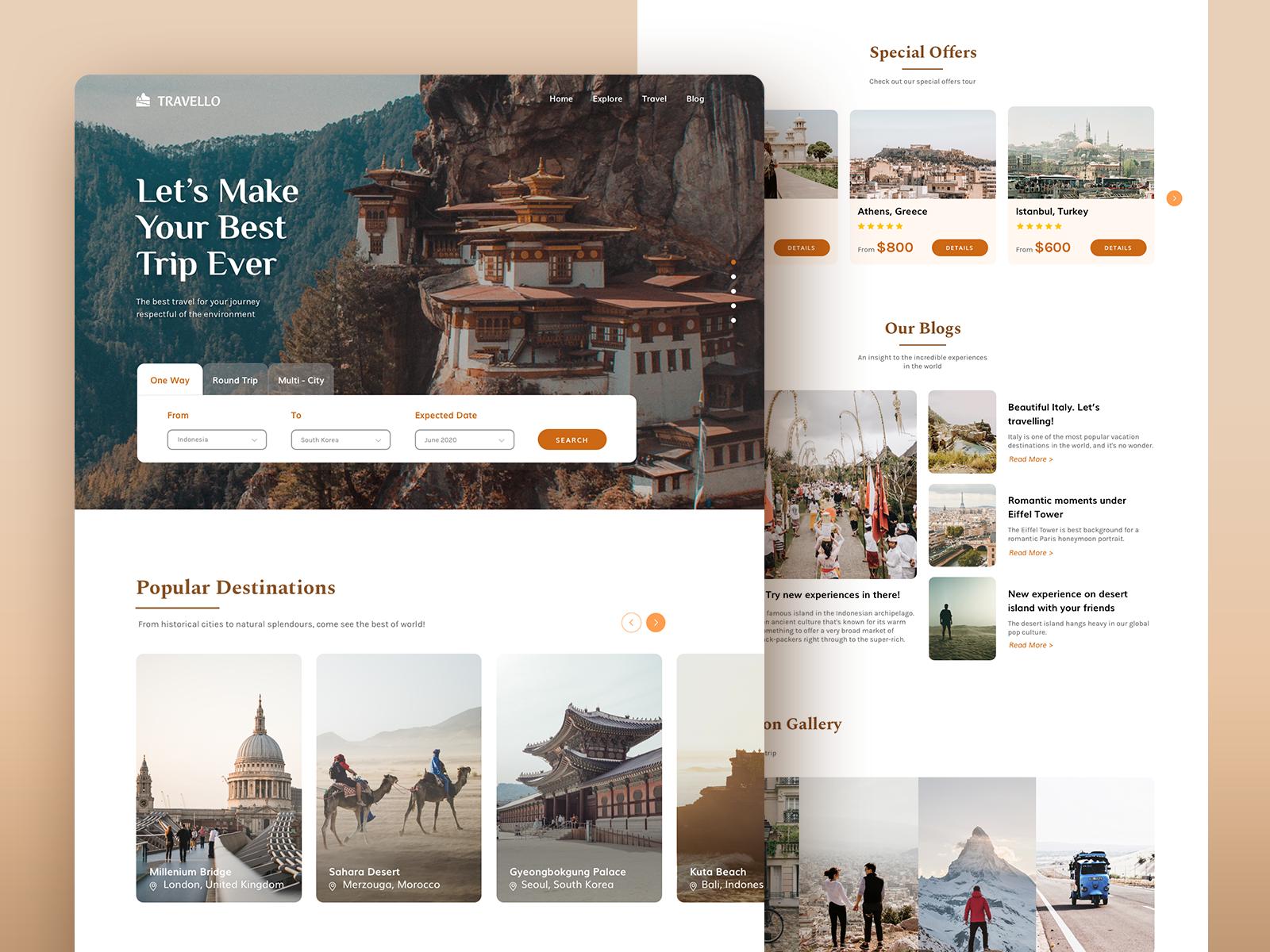 Travello Landing Page In 2020 Landing Page Web Design Website Design