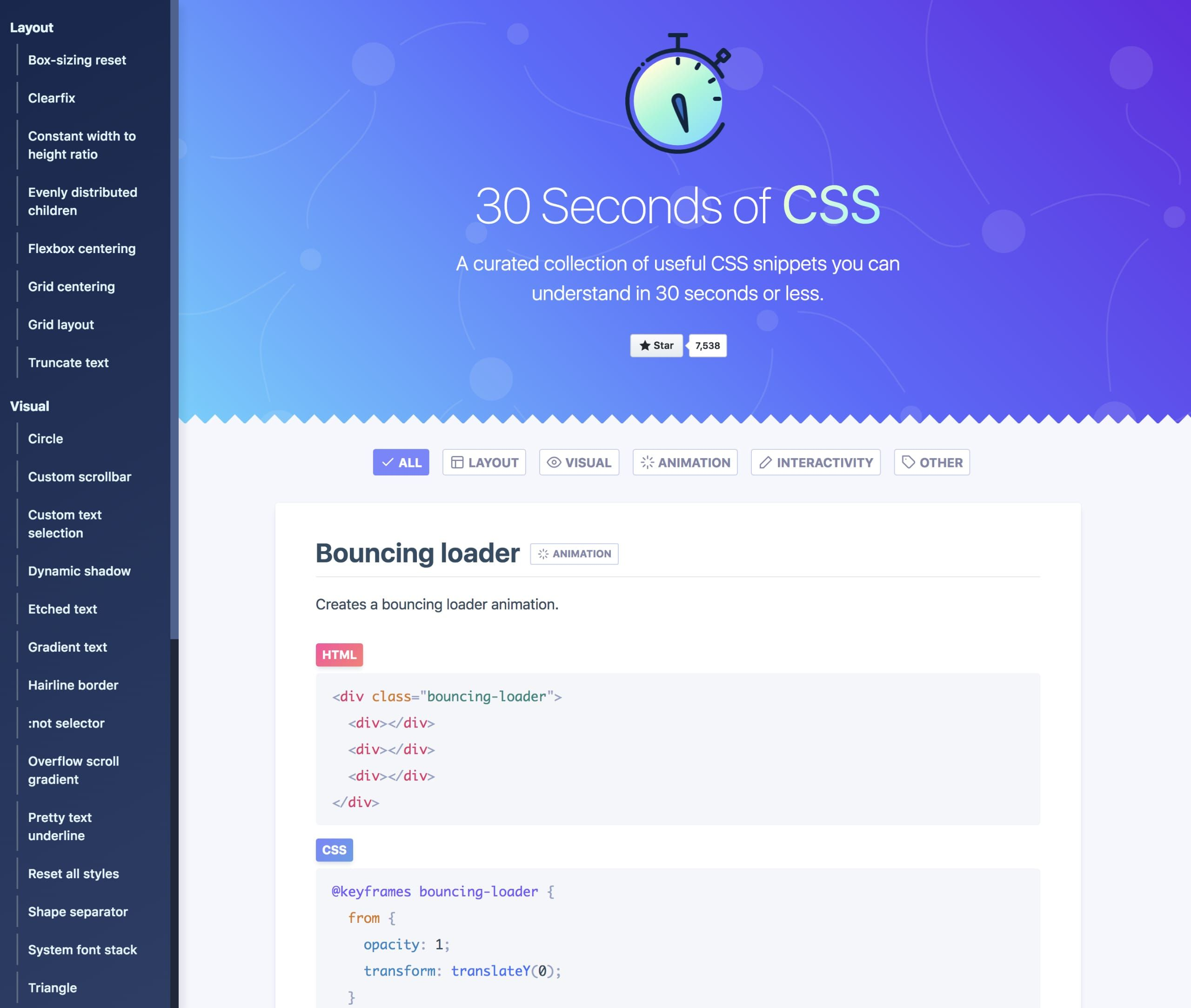 Long-scrolling One Pager hosting a curated collection of