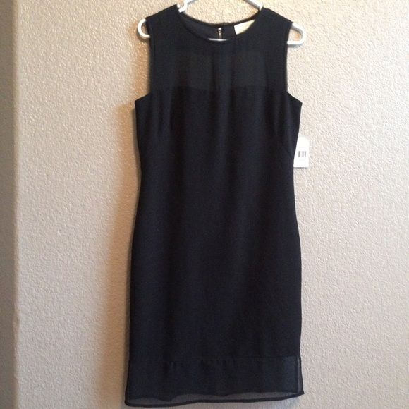 Black Jessica Simpson dress NWT Illusion on top bust and upper back and at hem knee length exposed zipper in back NWT Jessica Simpson Dresses