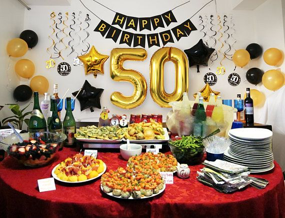 50th BIRTHDAY PARTY DECORATIONS Men: for Man Woman Him Her Balloons Banner Ideas Decor- 50 Year Old – 38″ #50 Gold Balloons/Swirls, 36 Pc
