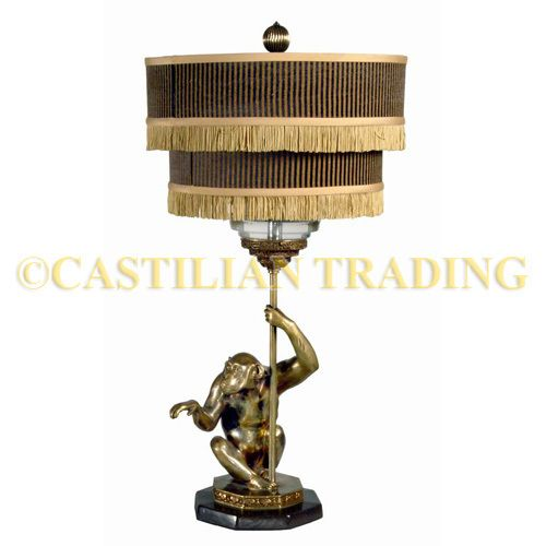 New Unused Brass Monkey Lamp Striped Shade W Fringe Lamp Unique Lamps Vintage Lighting