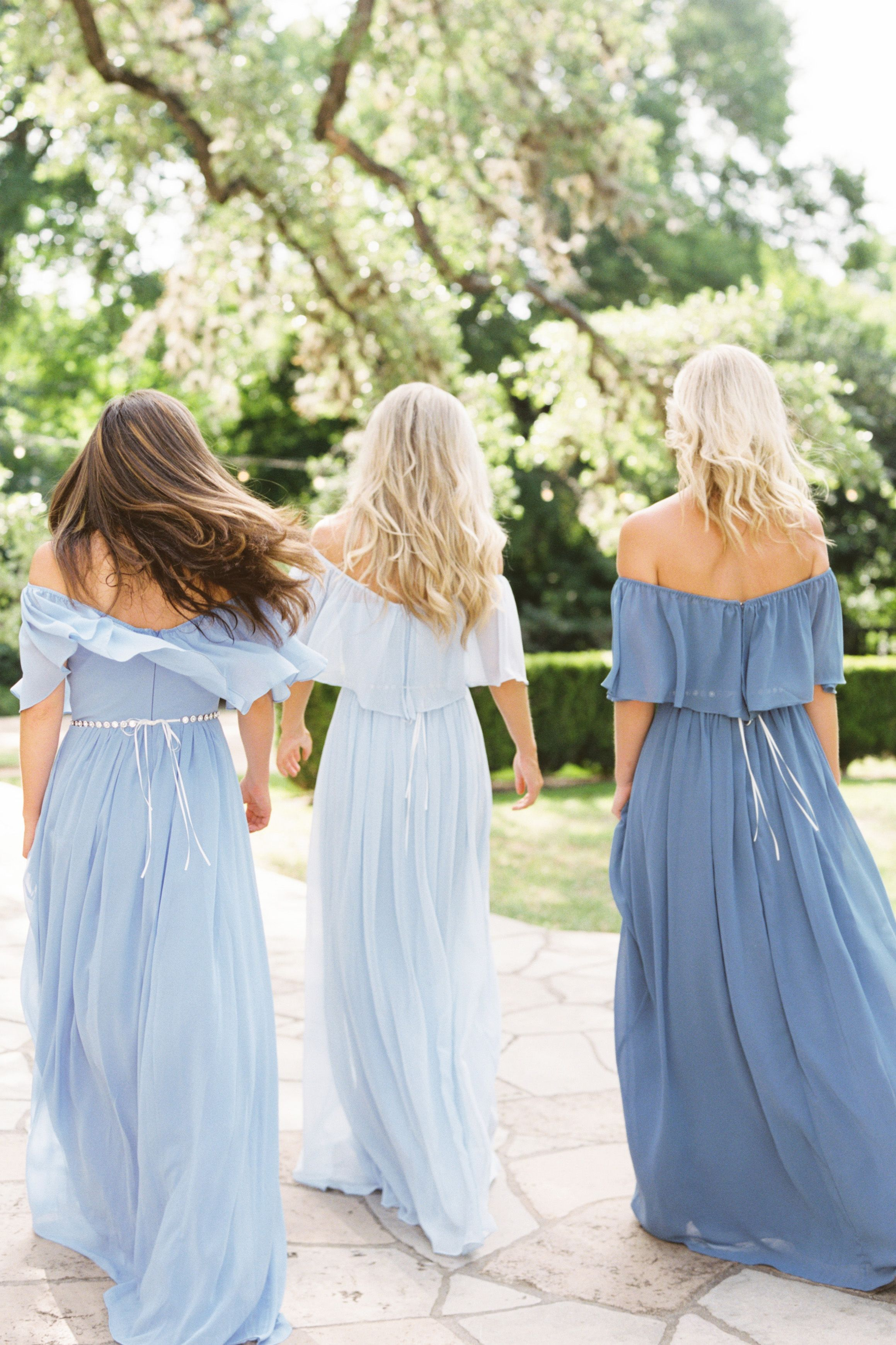 Boho off the shoulder bridesmaid dresses