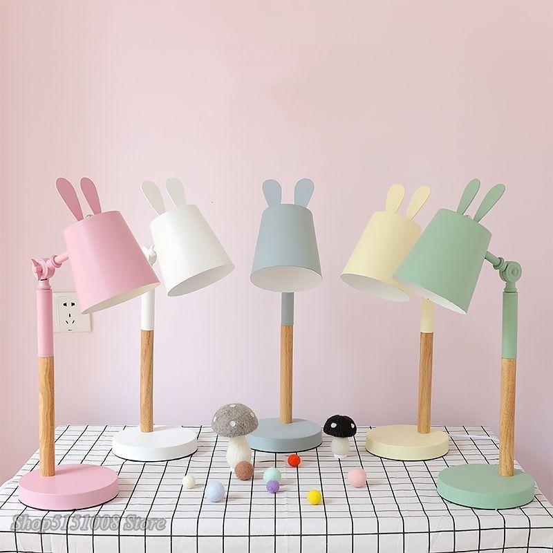 Nordic Rabbit Table Lamp Modern Children S Room Bedroom Led Wood Stand Iron Desk Light Luminaire Bedside Decor Light Table Lamp Wood Lamp Modern Childrens Room