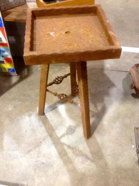 "Swivel Top Tripod Plant Stand    $45.00  Rustiquities Vendor ""BL"" or "" pumpkin guy""  Red Barn 305 W Madison Waxahachie, Tx 75165  Open: Wed-Sat.   9:00 to 5:00 Sunday.     11:00 to 5:00"