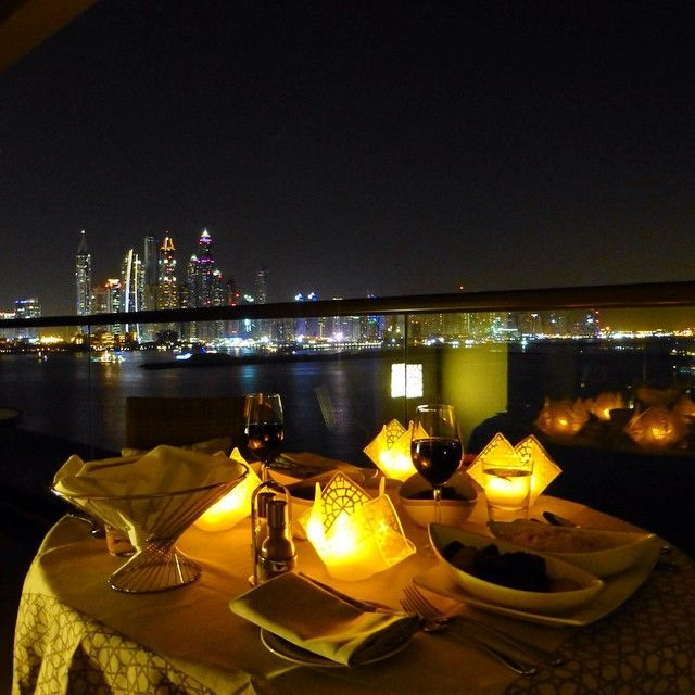 """A #romantic candlelit #dinner on our #balcony at #fairmontthepalm #happy #holiday #travel #fairmont #hotel #thepalm #palm #dubai"