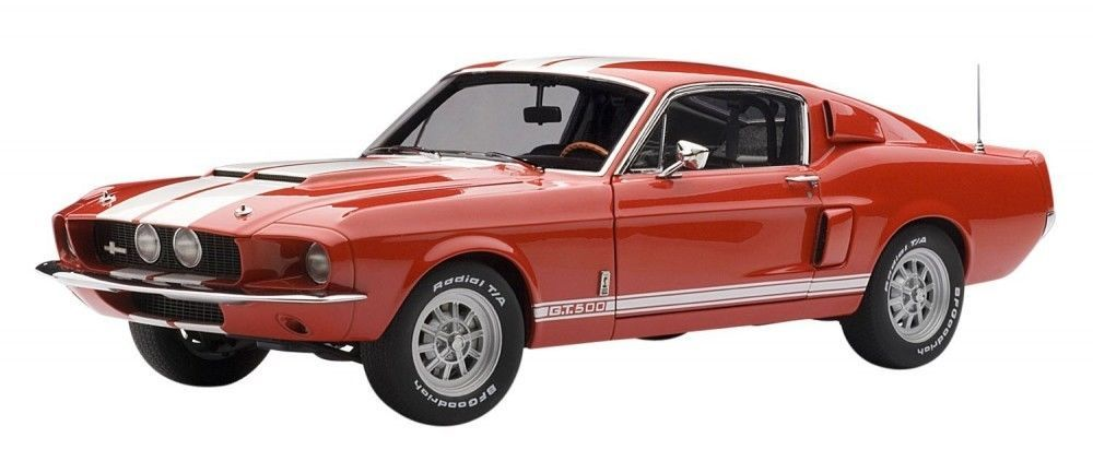 F/S AUTOart SHELBY MUSTANG GT500 1967 RED/WHITE STRIPES 72906 1/18 Model Car #AUTOart #SHELBY