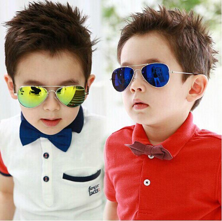 Polarized Vintage Sunglasses Boys Children Pilot Metal Frame UV400 Kids Glasses