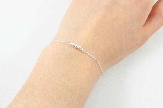 Tiny Beaded Rod Bracelet Sterling Silver and 14k by SincereleeChey
