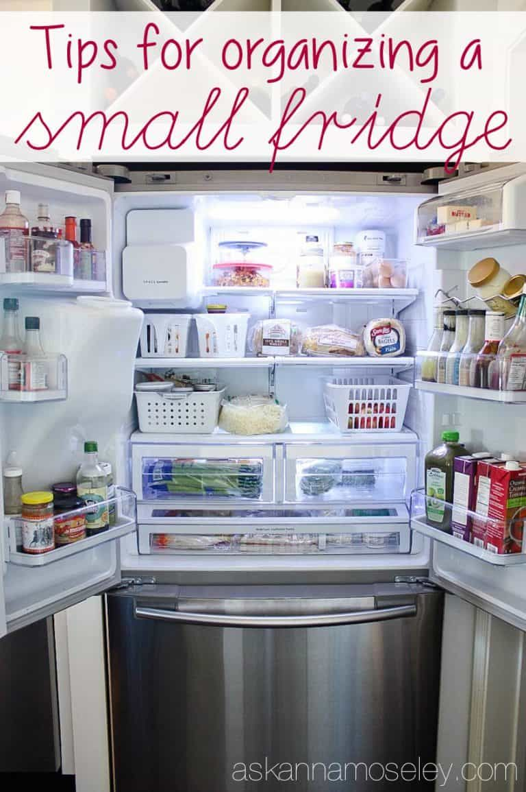 Tips For Organizing A Small Fridge Ask Anna In 2020 Small Fridge Organization Small Fridges Diy Pantry Organization
