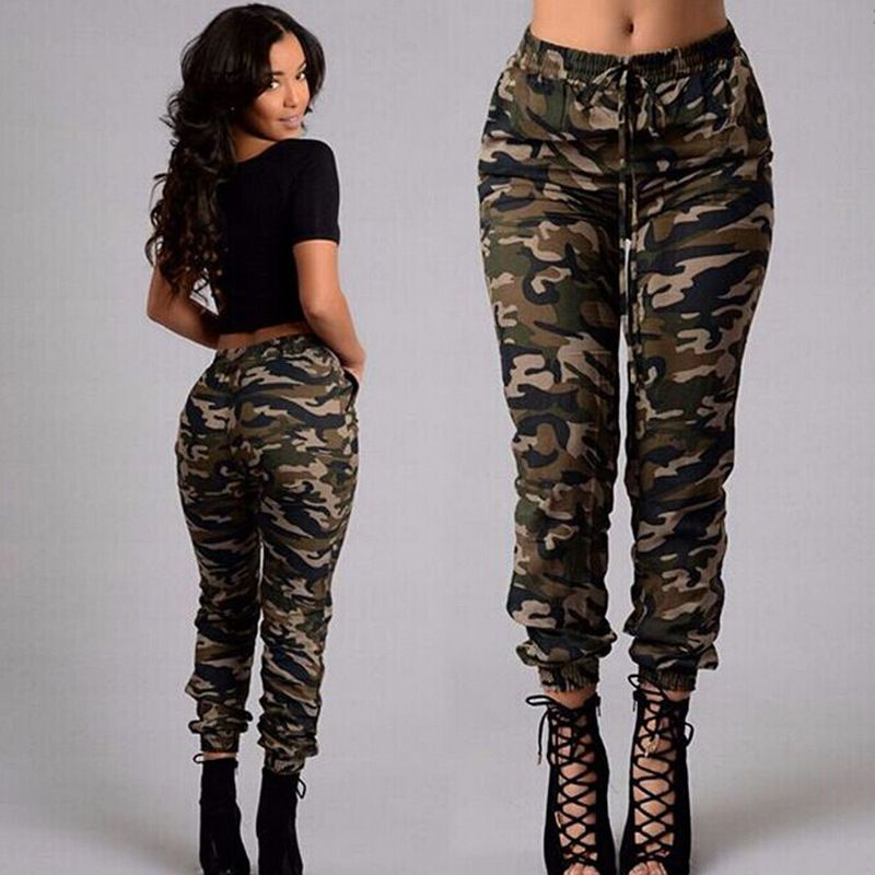 2017 New Fashion Women Pants Spring Autumn Camouflage Loose Trousers For  Woman Leisure Calf-Length Pants JL